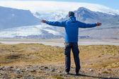 Man Admiring Glacier — Stock Photo