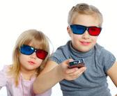 Menina com óculos 3d — Foto Stock