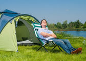 Man Camping — Stock Photo