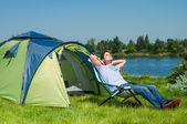 Man Camping — Stock Photo