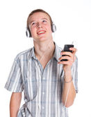 Teen Boy With Mp3 Player — Stock Photo