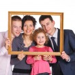 Family Portrait With Frame — Stock Photo