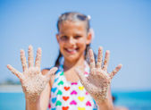 Girl On Sand — Stock Photo