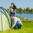 Stock Photo: GhbdtnbrCouple Setting Up Tent