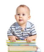 小小的孩子读大书. — 图库照片