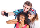 Teenagers taking a self photo — Stock Photo