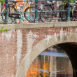 Dutch bicycles on a bridge - Stock Photo