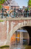 Dutch bicycles on a bridge — Stock Photo