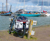 Bicycle parked on pier — Foto Stock