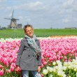 Happy Girl In Tulips — Stok fotoğraf