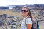 Walkinng woman. Iceland — Stock Photo