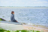 Little boy near sea — Stock Photo