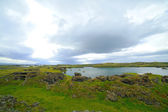 Iceland landscape at summer cloudy day. Mountain lake Myvatn. — Stock Photo