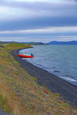 Iceland landscape with boat — Stock Photo
