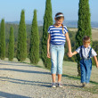 Happy family in Tuscan — Stock Photo