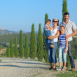 Happy family in Tuscan — Stok fotoğraf