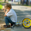 Little boy on a bicycle — Stock Photo
