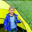 Young boy camping with tent — Stock Photo #26386557