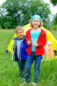 Summer child camping in tent — Stock Photo