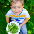 Stock Photo: Handsome little boy holding green peas in garden
