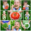 Collage of images kids holding tomato and green peas in garden — Stock Photo