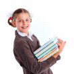 Portrait of cheerful schoolgirl — Stock Photo #26630493