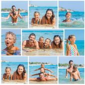 Photo of happy family on the beach — Stock Photo