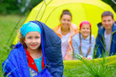 Young girl camping — Stock Photo