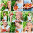 Stock Photo: Collage of images beautiful little smiling girl eating cherries and strawberries in garden