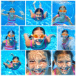 Collage of images the cute girl swimming underwater and smiling — Stock Photo #27394541