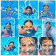 Collage of images the cute girl swimming underwater and smiling — Stock Photo