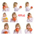 Girl holding apples — Stock Photo