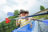 Family kayaking — Stock Photo