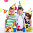 Kids with birthday cake — Stok fotoğraf
