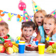 Stock Photo: Kids with birthday cake