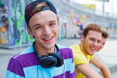 Three young friends happy — Stock Photo
