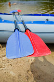 Paddles for white water rafting — Stock Photo