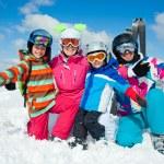 Skiing winter fun. Happy family — Stock Photo #32875877