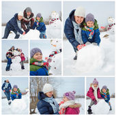 Family with a snowman — Stock Photo