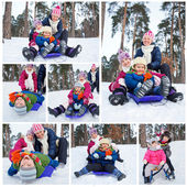 Funny family is sledging in winter-landscape — Stock Photo