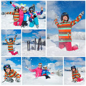 Skiing winter fun. Happy family — Stock Photo