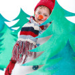 Boy in suit snowman — Stockfoto #33966909
