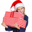 Girl in Santa's hat with gift box — 图库照片