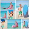 Girl and boy has fun with the surfboard — Stock Photo #34415601