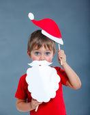 Malý chlapec v santa hat. — Stock fotografie