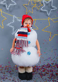 Boy in suit snowman — Stock fotografie