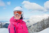 Girl on skis. — Stock Photo