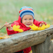 Baby boy in the autumn park — Stock Photo #35908435