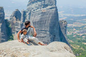 Father and son looking at the town of Kalambaka — Stock Photo