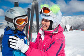 Skiing, winter, family — Stock Photo